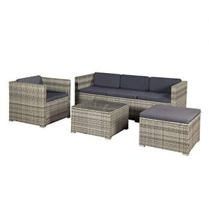 Rattan Lounge Set, Gartenmöbel aus Polyrattan im Set, Rattanmöbel Lounge Set