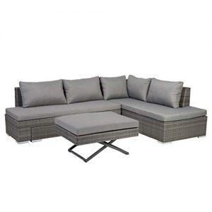 Graue Rattanmöbel, Polyrattan Lounge in Grau, Rattanmöbel grau, graue Polyrattan Möbel