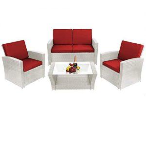 Rattan Sitzgruppe 4-teilig, Gartenmöbel für 4 Personen aus Polyrattan, Rattan Gartenmöbel 4-teilig, 4 Personen Rattan Gartenlounge